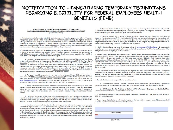 NOTIFICATION TO HIANG/HIARNG TEMPORARY TECHNICIANS REGARDING ELIGIBILITY FOR FEDERAL EMPLOYEES HEALTH BENEFITS (FEHB)
