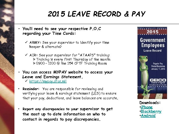 2015 LEAVE RECORD & PAY • You'll need to see your respective P. O.