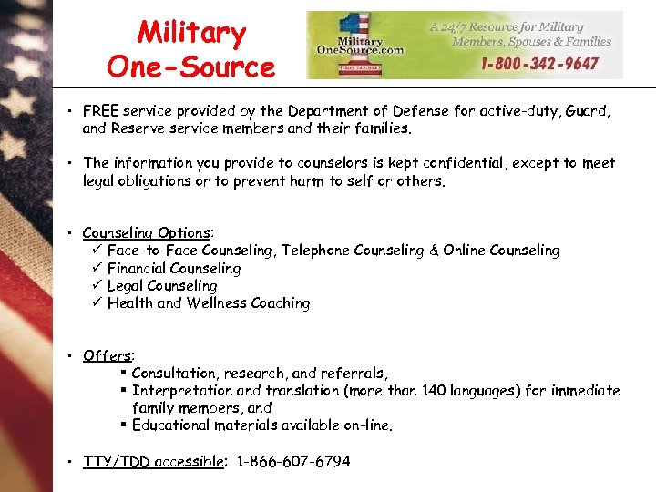 Military One-Source • FREE service provided by the Department of Defense for active-duty, Guard,