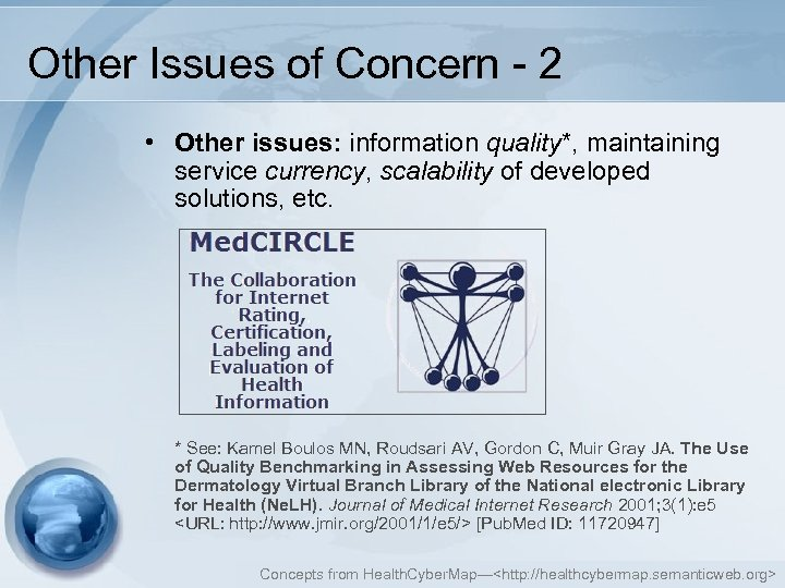 Other Issues of Concern - 2 • Other issues: information quality*, maintaining service currency,