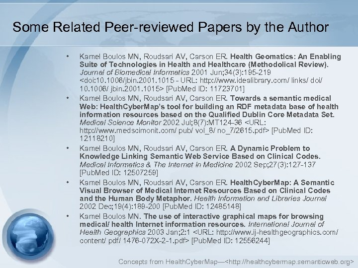 Some Related Peer-reviewed Papers by the Author • • • Kamel Boulos MN, Roudsari
