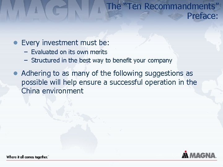 """The """"Ten Recommandments"""" Preface: l Every investment must be: – Evaluated on its own"""