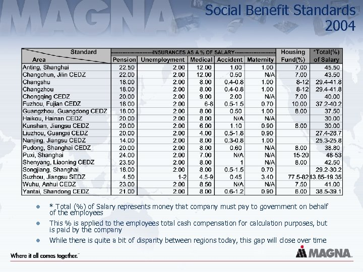 Social Benefit Standards 2004 l * Total (%) of Salary represents money that company