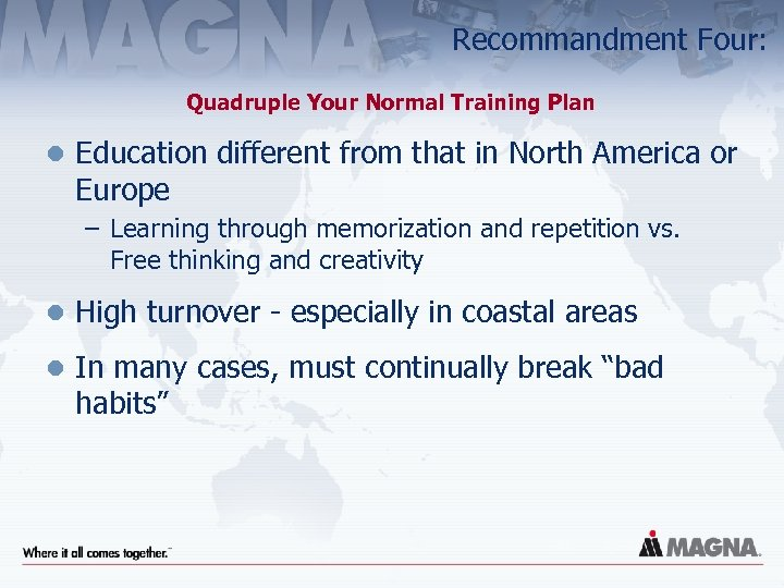 Recommandment Four: Quadruple Your Normal Training Plan l Education different from that in North