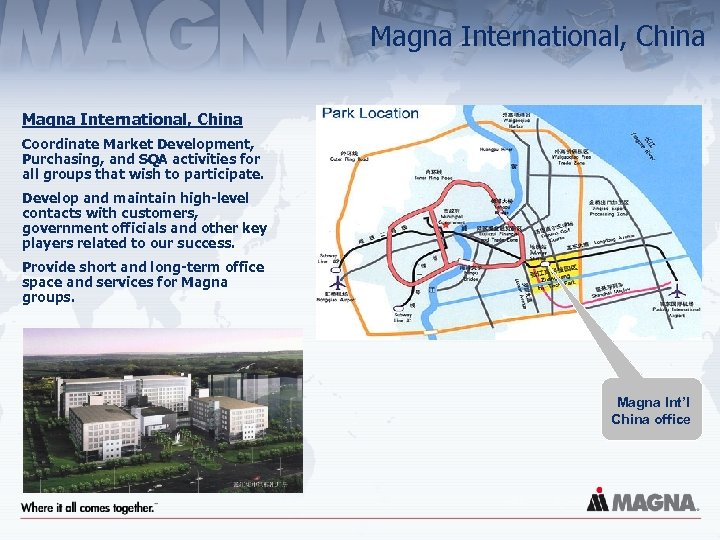 Magna International, China Coordinate Market Development, Purchasing, and SQA activities for all groups that