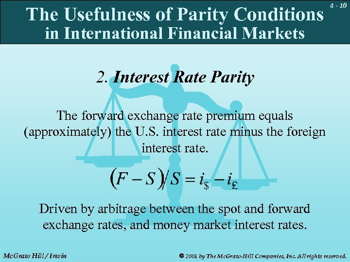 The Usefulness of Parity Conditions 4 - 10 in International Financial Markets 2. Interest