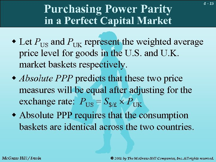 Purchasing Power Parity 4 - 15 in a Perfect Capital Market w Let PUS