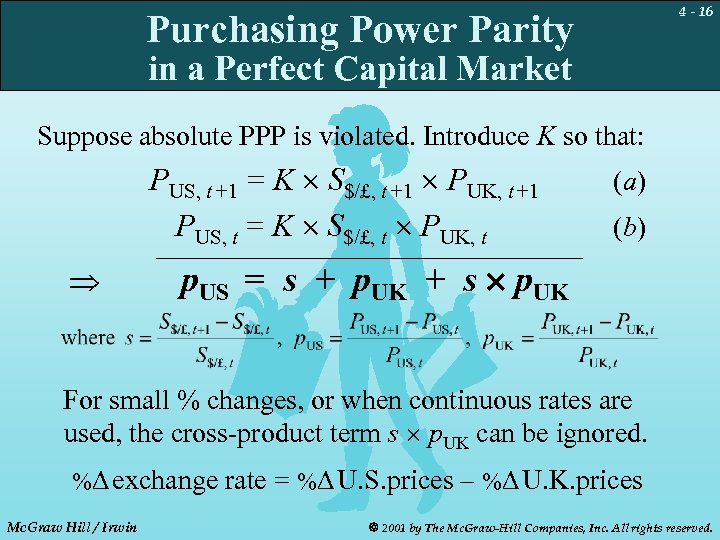 4 - 16 Purchasing Power Parity in a Perfect Capital Market Suppose absolute PPP