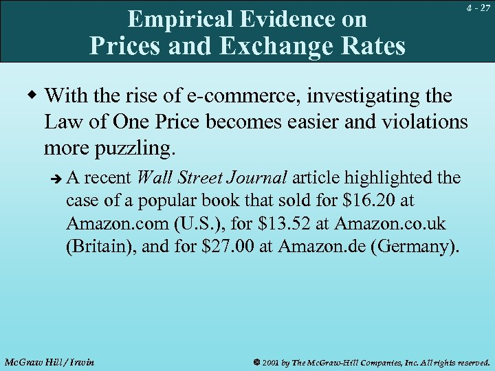 Empirical Evidence on 4 - 27 Prices and Exchange Rates w With the rise