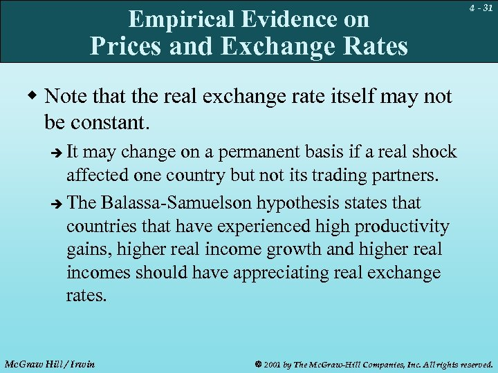 Empirical Evidence on 4 - 31 Prices and Exchange Rates w Note that the