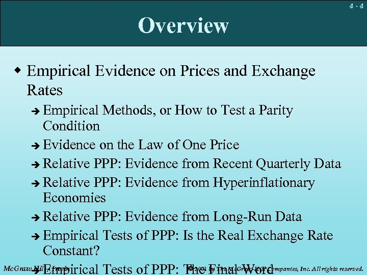 4 -4 Overview w Empirical Evidence on Prices and Exchange Rates Empirical Methods, or