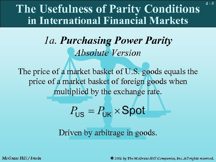 The Usefulness of Parity Conditions 4 -8 in International Financial Markets 1 a. Purchasing