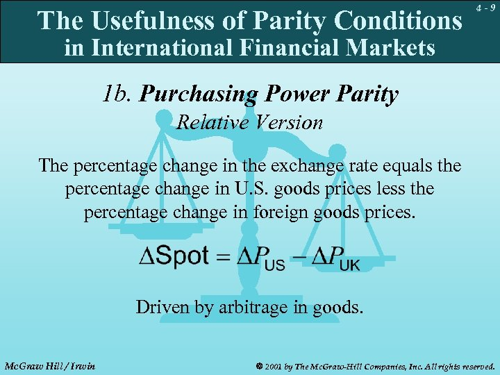 The Usefulness of Parity Conditions 4 -9 in International Financial Markets 1 b. Purchasing