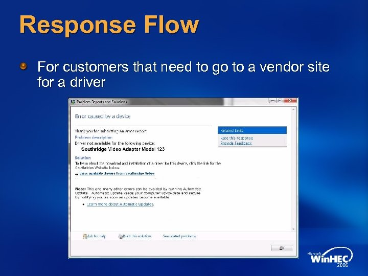 Response Flow For customers that need to go to a vendor site for a