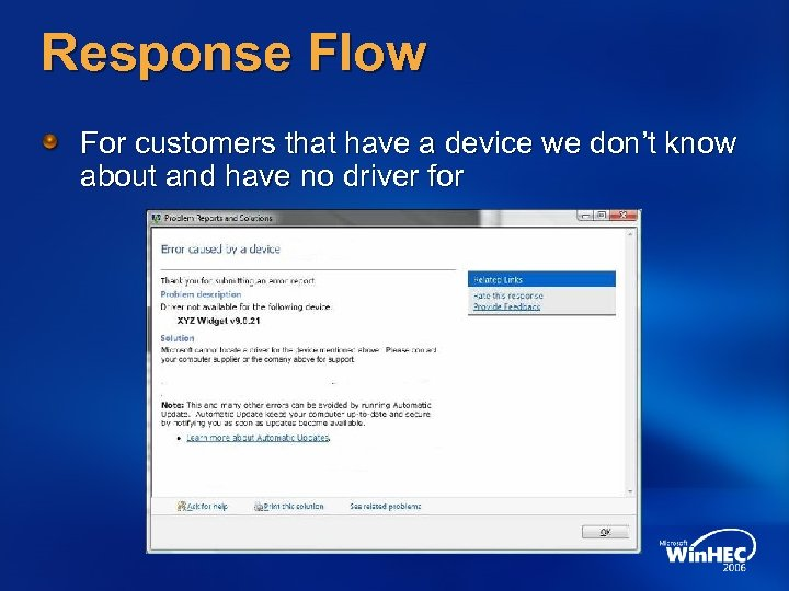 Response Flow For customers that have a device we don't know about and have