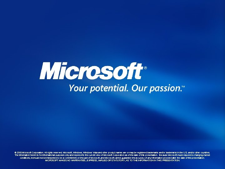 © 2006 Microsoft Corporation. All rights reserved. Microsoft, Windows Vista and other product names