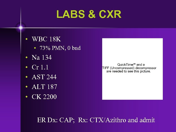 LABS & CXR • WBC 18 K • 73% PMN, 0 bnd • •