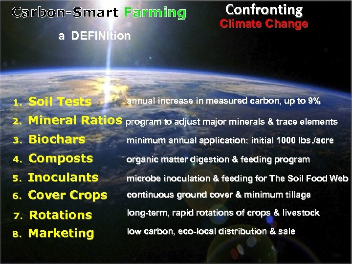 Carbon-Smart Farming a DEFINItion Confronting Climate Change 1. Soil Tests 2. Mineral Ratios program