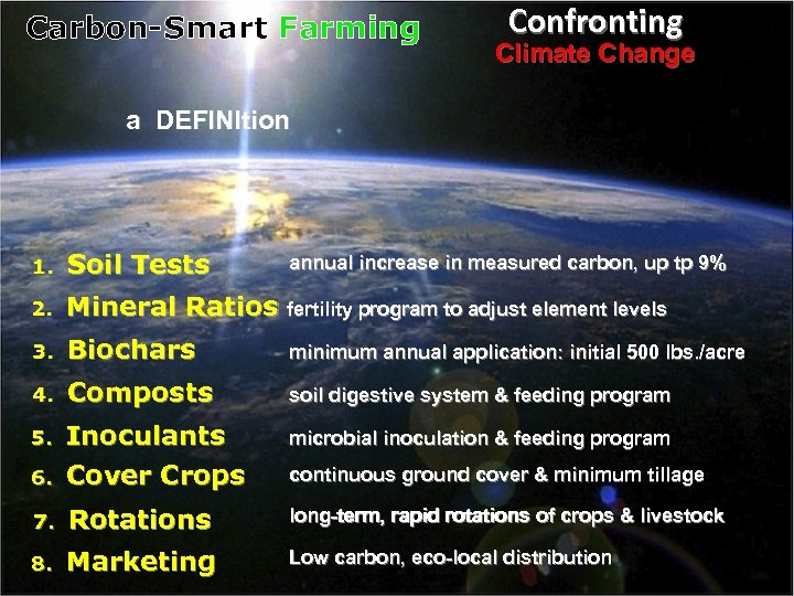 Carbon-Smart Farming Confronting Climate Change a DEFINItion 1. Soil Tests 2. Mineral Ratios fertility