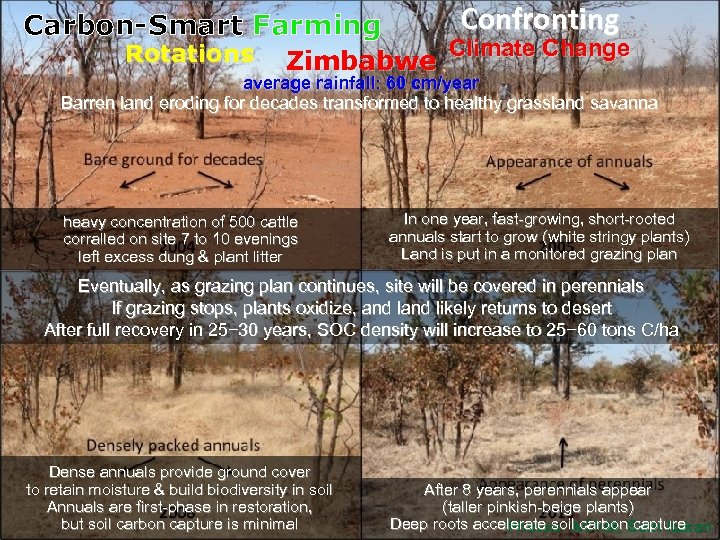 Confronting Carbon-Smart Farming Rotations Zimbabwe Climate Change long-term, rapid rotations average rainfall: 60 cm/year