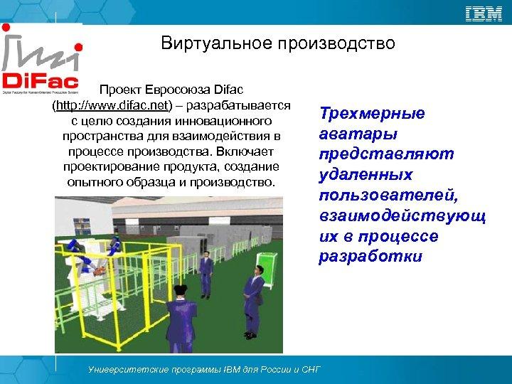 Виртуальное производство Проект Евросоюза Difac (http: //www. difac. net) – разрабатывается с целю создания