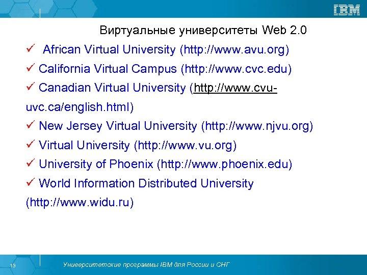 Виртуальные университеты Web 2. 0 ü African Virtual University (http: //www. avu. org) ü