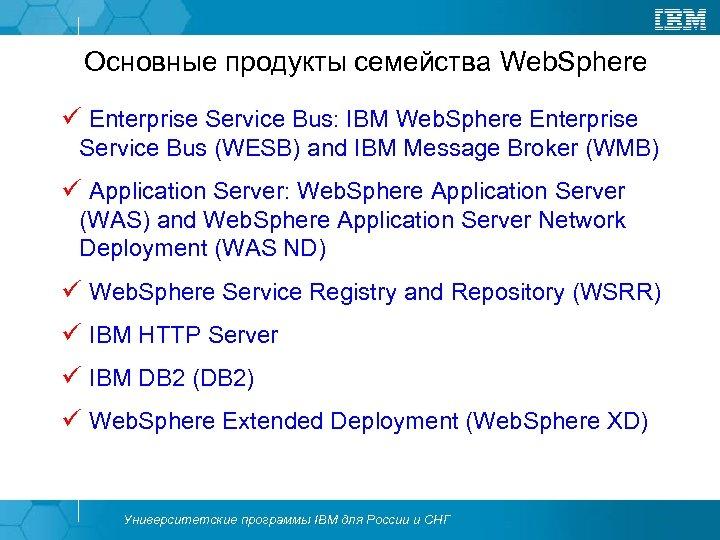 Основные продукты семейства Web. Sphere ü Enterprise Service Bus: IBM Web. Sphere Enterprise Service