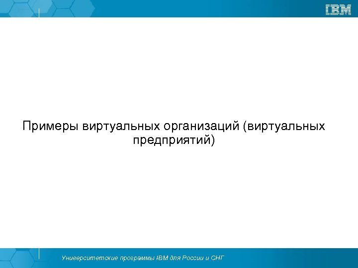 Примеры виртуальных организаций (виртуальных предприятий) Университетские программы IBM для России и СНГ