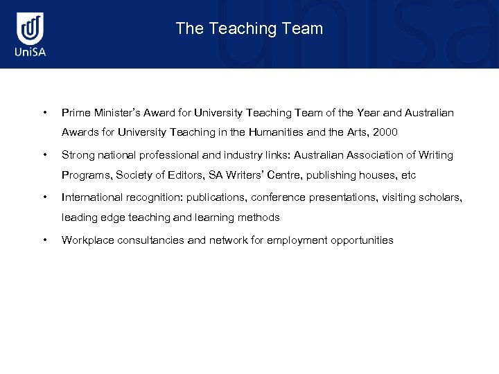 The Teaching Team • Prime Minister's Award for University Teaching Team of the Year