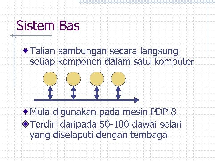 Sistem Bas Talian sambungan secara langsung setiap komponen dalam satu komputer Mula digunakan pada