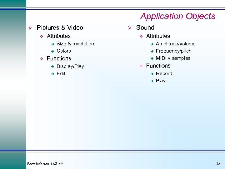 Application Objects Ø Pictures & Video v Attributes è è v Ø Sound v