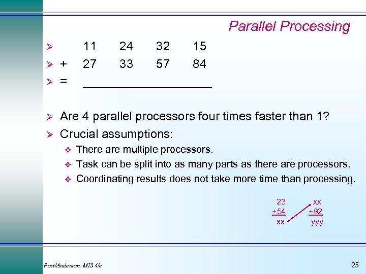 Parallel Processing Ø Ø Ø + = 11 24 32 15 27 33 57