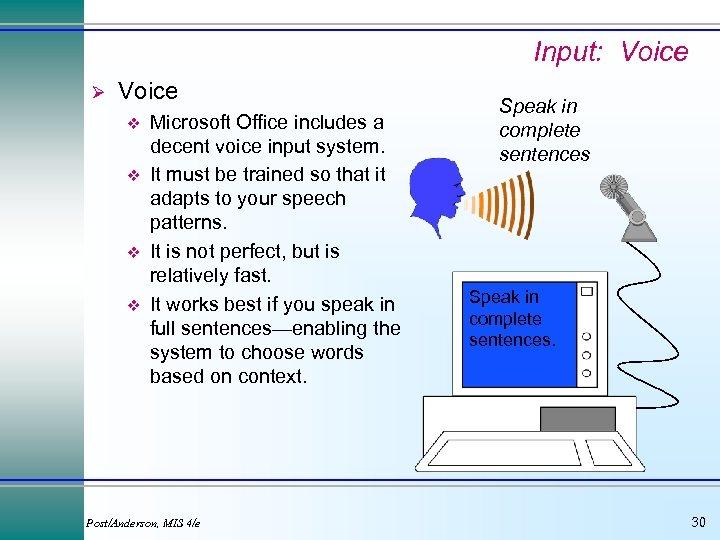 Input: Voice Ø Voice v v Microsoft Office includes a decent voice input system.