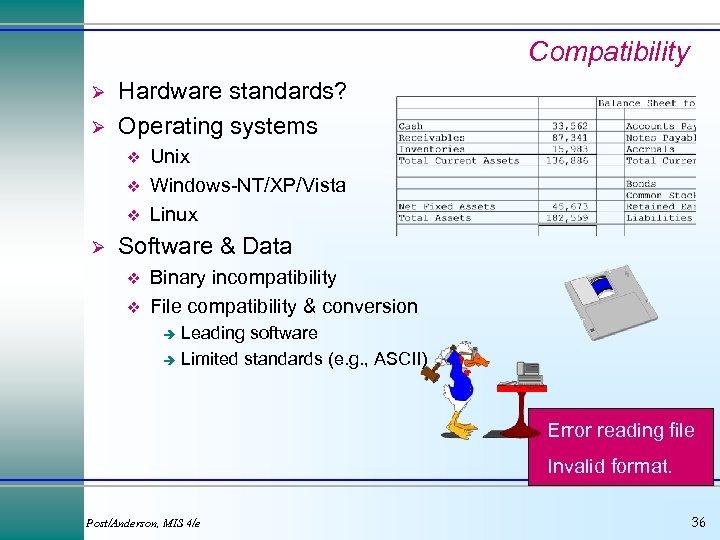 Compatibility Ø Ø Hardware standards? Operating systems v v v Ø Unix Windows-NT/XP/Vista Linux