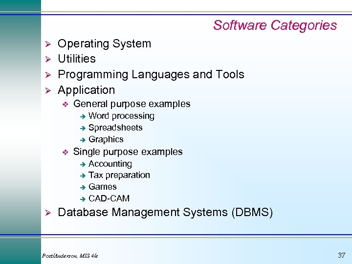 Software Categories Ø Ø Operating System Utilities Programming Languages and Tools Application v General