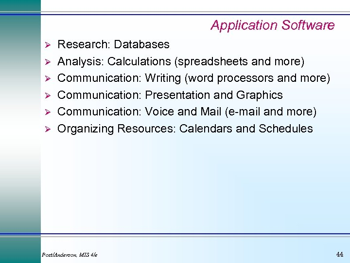 Application Software Ø Ø Ø Research: Databases Analysis: Calculations (spreadsheets and more) Communication: Writing
