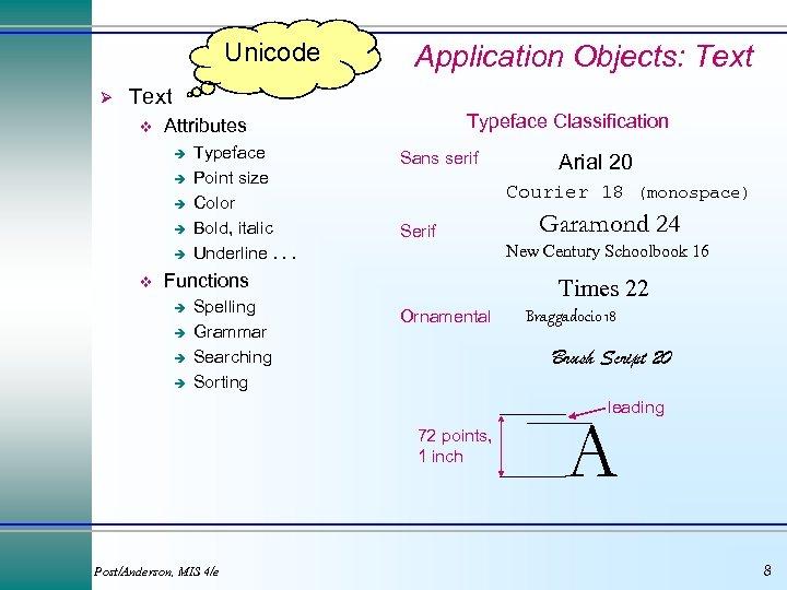 Unicode Ø Application Objects: Text v è è è v Typeface Classification Attributes Typeface