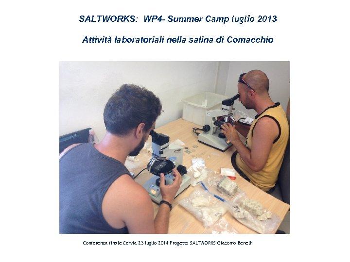 SALTWORKS: WP 4 - Summer Camp luglio 2013 Attività laboratoriali nella salina di Comacchio