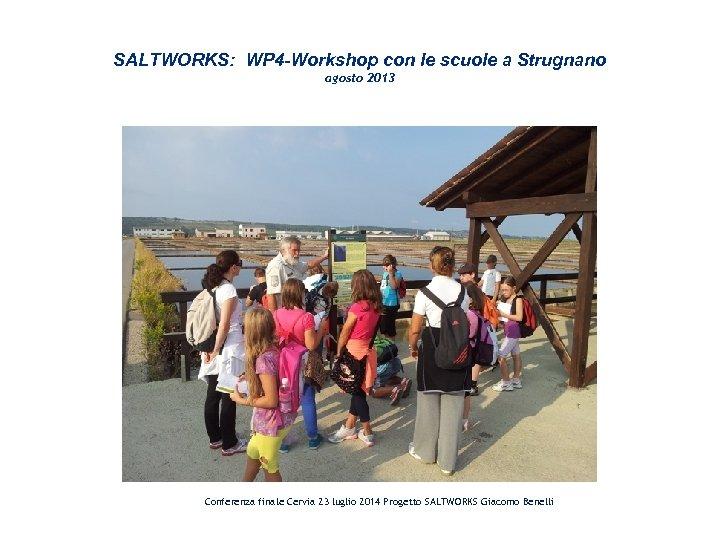 SALTWORKS: WP 4 -Workshop con le scuole a Strugnano agosto 2013 Conferenza finale Cervia
