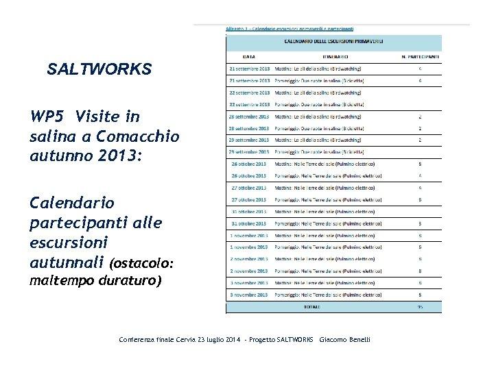 SALTWORKS WP 5 Visite in salina a Comacchio autunno 2013: Calendario partecipanti alle escursioni