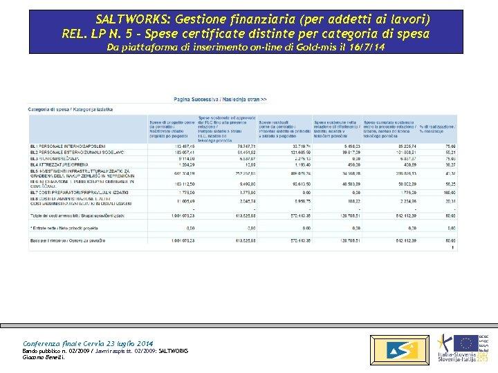 SALTWORKS: Gestione finanziaria (per addetti ai lavori) REL. LP N. 5 - Spese certificate