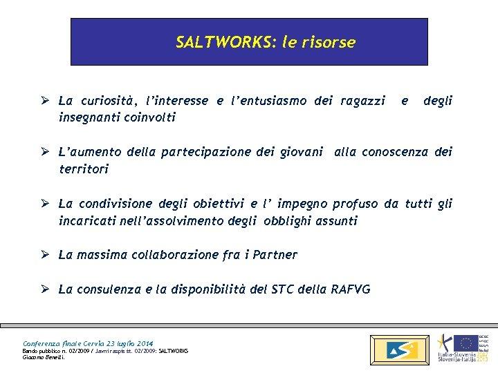 SALTWORKS: le risorse Ø La curiosità, l'interesse e l'entusiasmo dei ragazzi insegnanti coinvolti e