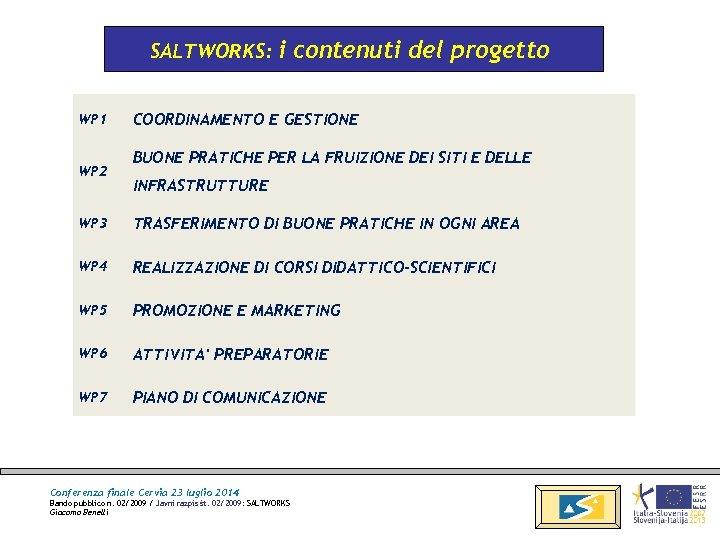 SALTWORKS: WP 1 WP 2 i contenuti del progetto COORDINAMENTO E GESTIONE BUONE PRATICHE