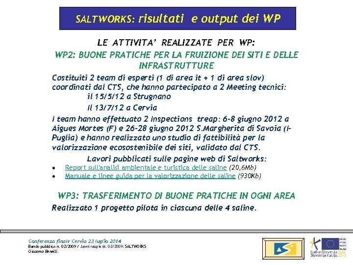 SALTWORKS: risultati e output dei WP LE ATTIVITA' REALIZZATE PER WP: WP 2: BUONE