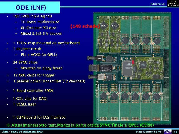 Adriano Lai ODE (LNF) • 192 LVDS input signals – 10 layers motherboard –
