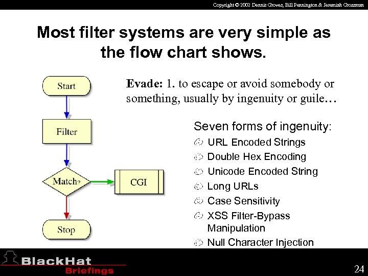 Copyright © 2002 Dennis Groves, Bill Pennington & Jeremiah Grossman Most filter systems are