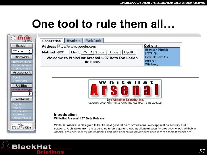 Copyright © 2002 Dennis Groves, Bill Pennington & Jeremiah Grossman One tool to rule