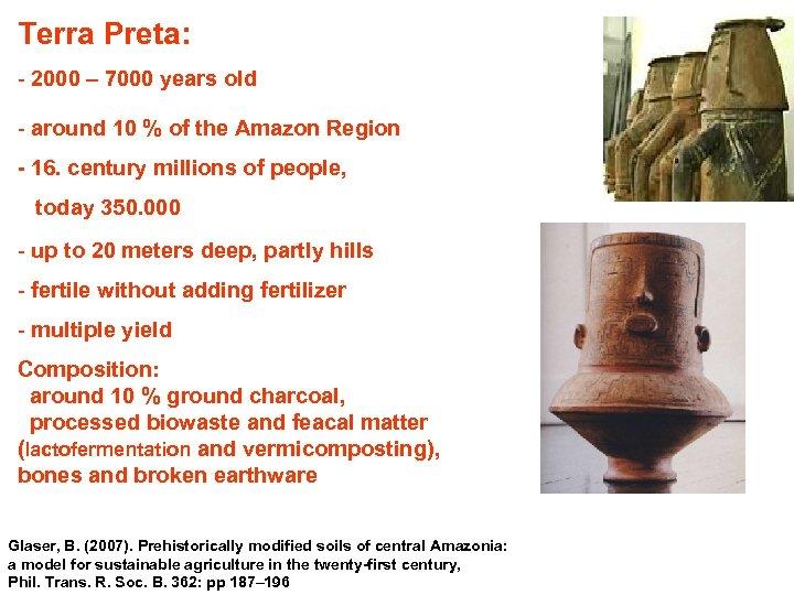 Terra Preta: - 2000 – 7000 years old - around 10 % of the