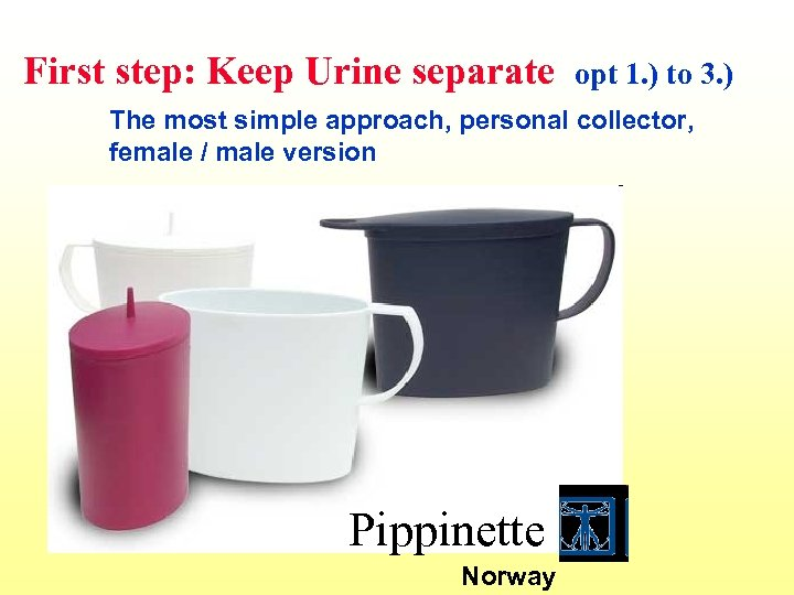 First step: Keep Urine separate opt 1. ) to 3. ) The most simple