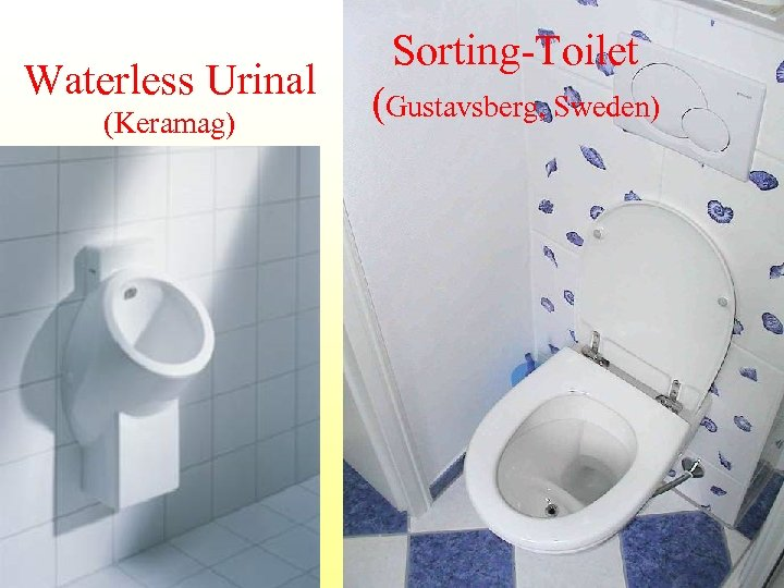 Waterless Urinal (Keramag) Sorting-Toilet (Gustavsberg, Sweden)